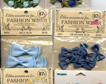 10 sealed packages BLUE Ribbon & Rose Trims, Embellishments, Ribbon Bows - great for crafts