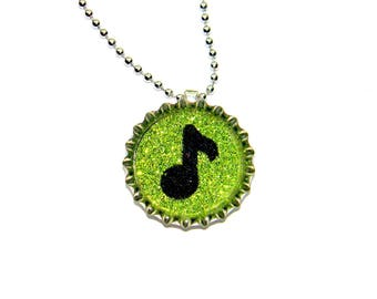 NEW Music Eighth Note - Bottle Cap Necklace