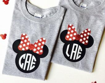 YOUTH Minnie Bow Monogram Shirt Unisex Style Custom Family Trip Shirts Monogrammed Shirt