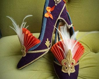 Flapper Costume Heels Shoes Style Gold Marie Antoinette Baroque Rococo Fairytale Boudoir Fantasy Metallic Burlesque Fleur De Lis Feathers