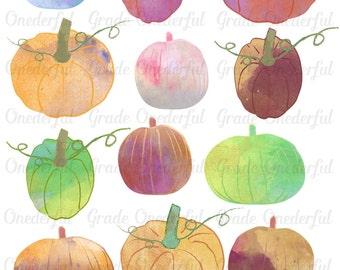 Watercolor Pumpkin Clipart, Autumn Clip Art, Fall Clipart, Halloween Clipart, Digital Clipart, Commercial Use, Printable