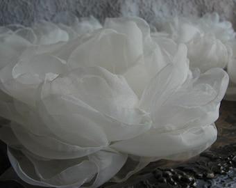 Ivory organza flower Wedding flower Ivory bridal flower Organza flower Ivory hair flower Ivory dress Ivory sash flower Bridesmaids flower