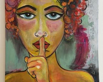 Keeping quiet original painting