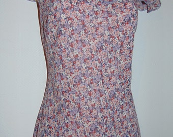 Laura Ashley vintage retro ditsy fine chiffon ruffled neckline summer dress, size 8UK