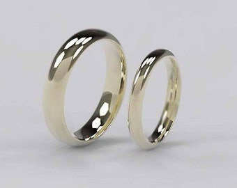 Matching Gold Traditional Wedding Bands 9/18ct