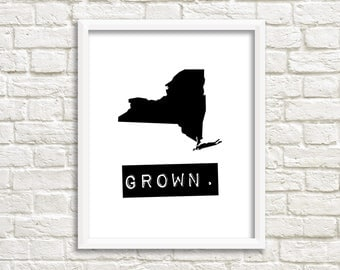 New York wall art, New York sign, home state signs, personalized home decor, black and white state map, New York map print, custom gifts