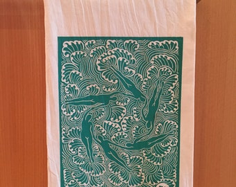 "Tea Towel • Hand-printed Screenprint ""We ebb, we flow"" Original Artwork Flour Sack Towel, Kitchen Linens - Teal on White"