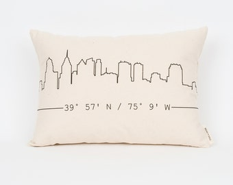 "City Skyline Custom Pillow - 12""x18"" or 16""x20"" - Insert Included - Custom Coordinates - Decorative Pillows - Housewarming Gift"
