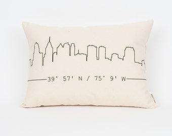 City Skyline Custom Pillow, Housewarming Gift, Apartment Decor, Gift for Him, Gift for Brother, City Art, Custom Coordinates, Gift Idea