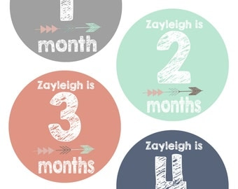 Baby Month Stickers Girl, Monthly Baby Stickers, Tribal Arrow Personalized Custom