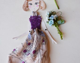 Paper doll Articulated, OOAK, romantic purple dressed paper puppet, hand painted purple lace dressed Spring present, handmade place holder.