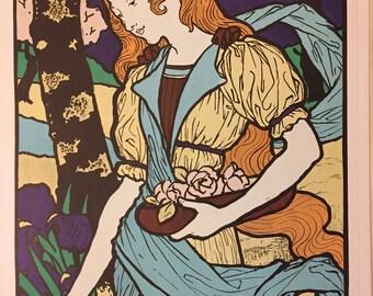 Art Nouveau Poster for a Modern Art Exhibit --  Eugene Grasset --  Vintage Serigraph Print