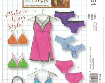 McCall's 5651 DIY Style Size 4-18 Panties Bras Camisole & Slip Lingerie Pattern Uncut