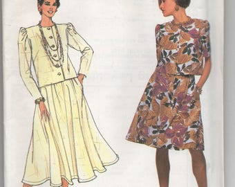 Uncut 9753 Simplicity Sewing Pattern Damon Dress Four Gore Flared Skirt & Round Neckline Top Size 6 8 10 12 14 Factory Folded