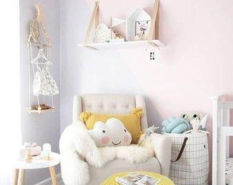 Yellow Pouf Ottoman-Nursery Footstool Pouf-Glider Chair Ottoman- Floor Pillow- Nursery Decor-Round Pouf-Crochet Floor Cushions-Floor Pouf