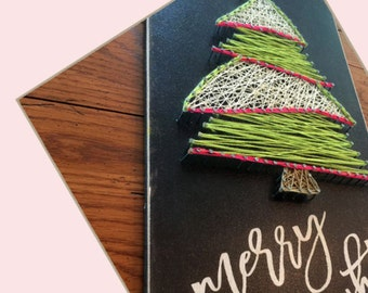 The Board String Art Project   Merry and Bright tree with chalkboard look background - 9 x 18