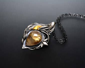 Reserved - Handcrafted Fine Silver, 24k Gold Pendant With Rutilated Quartz - Dance Of Light