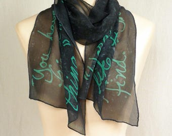 Friendship Quote Scarf - Hand Painted Silk Chiffon - Teal text on slate-blue background