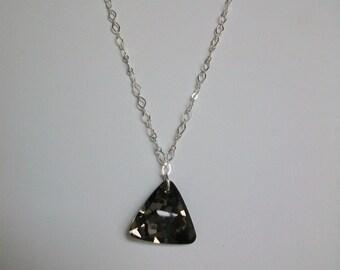 Black Diamond Pendant on Silver Chain