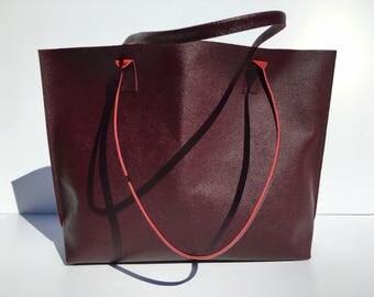 SALE! Large Premium Burgundy Leather Tote