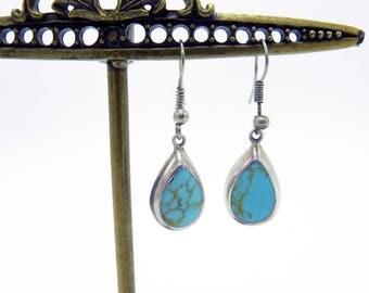 Vintage Silver Tear-Drop Turquoise Dangle Earrings