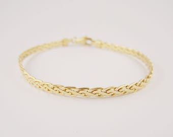 """18ct Yellow Gold Bracelet with Lobster Catch, Tight Woven Link 7.2"""" total length, Vintage Yellow Gold Bracelet Pre-Loved"""