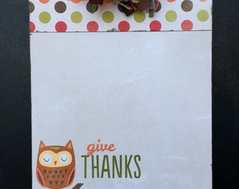 Give Thanks Owl Clipboard