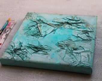 """Abstract-Painting, Contemporary-art, 8x8x0,6"""", turquoise, abstract art, Wall Decor, mixed media, Metallic Blue, Art & Collectibles"""