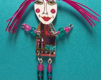 Hot Pink Hair Art Doll Pin ~ Original Jewelry Design by Jennifer Obertin ~ Shrink Art Drawing with Wire and Beads