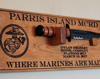 USMC bootcamp graduation gift, Personalized Ka bar Marine knife wall mount display, Custom wood graduation plaque for military