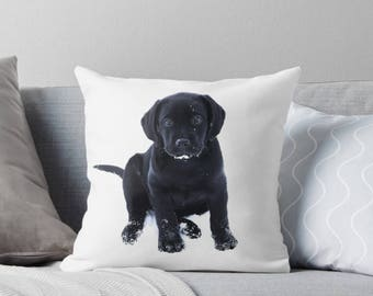 Black Lab Pillow 111SP - Labrador Pillow - Throw Pillow - Black Lab Decor - Black Lab Gifts - Outdoor Pillow - Dog Pillow - Black Lab Art