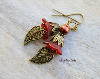 Brown Flower Earrings Rustic Brass Earrings Unique Boho Earrings Czech Glass Pearl Earrings Victorian Filigree Leaf Dangles