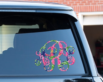 Classy Black Floral Monogram Car Decal Car Stickers Car Decor - Monogram decal on car