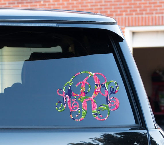 Preppy Flamingo Monogram Car Decal Car Stickers Car Decor Cute Car Accessories Lilly Inspired Car Decals Monogrammed Vinyl Decal For Yeti