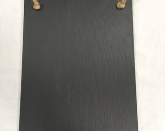 Welsh slate memo board with oak shelf