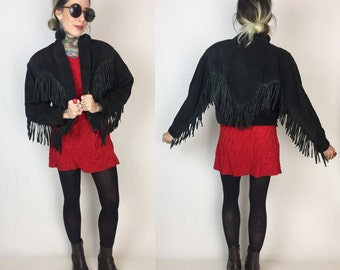 80's Suede Fringe Leather Coat Small/Medium - Black Fringe Sleeve Jacket BOHO Hippie Hipster - Southwestern Cropped Leather Fringed Jacket