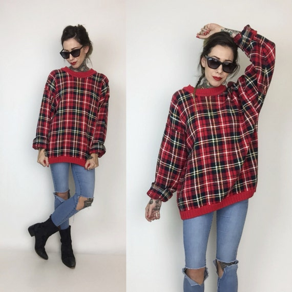 90's Red Plaid Cotton Knit Pullover Sweater Unisex Large - Classic Plaid Tartan Warm Knitted Jumper - Slouchy Baggy Mens Womens Knit Sweater