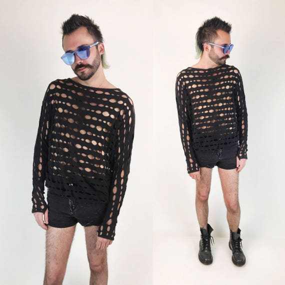 90's Holey Black Long Sleeve Pullover Medium - Goth Grunge Punk Mesh Holes Cotton T-shirt - Unisex Cut Out Baggy Slouchy See Through Shirt