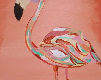 Flamingos, Whimsical Art, Art for Childs Room, Funky, Patch Work, Funky Flamingo - 8 x 10 Art print