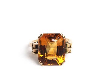 Mid Century 14k Gold Madeira Citrine Ring  with Scroll Shoulders - Big Retro Art Deco Glamorous Statement Jewelry