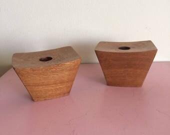 Set of 2 Mid Century Modern Wood Candleholders
