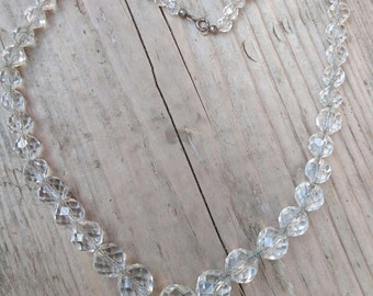 Vintage sterling silver and faceted glass bead necklace