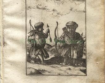 """1719 Manesson Mallet """"Samoyedes"""" Samoyed, Samoyedic People, Siberia, Russia, Antique Print"""