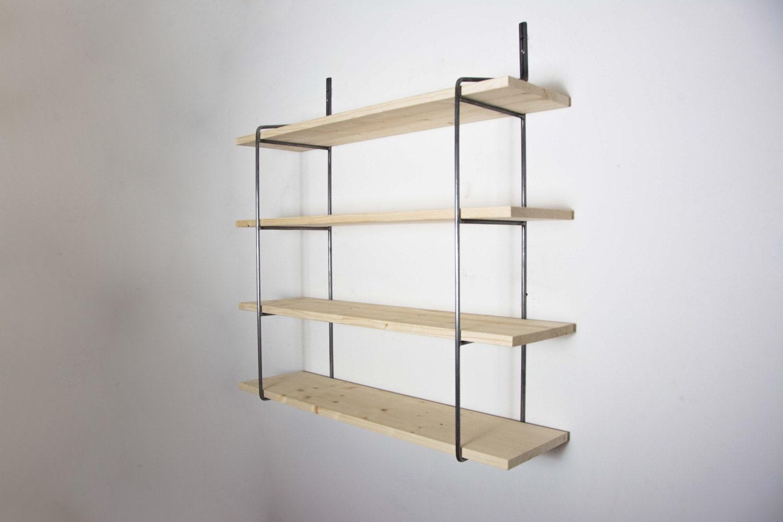 unpainted shelving unit with 4 shelves shelving bookcase shelving wall shelving steel shelving round metal brackets