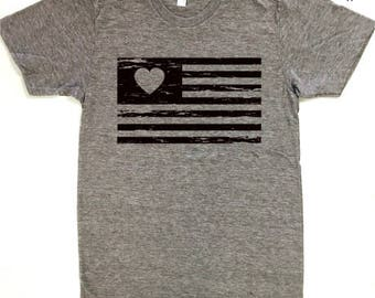 Love USA Flag Vintage, American, Patriotic, Graphic Tee, July 4th, Fourth