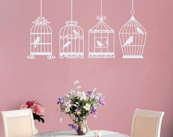 Wall Decals Bird Cage Decal Birdcage Love Birds Vinyl Sticker Home Decor Mural Bedroom Dorm Nursery V1057