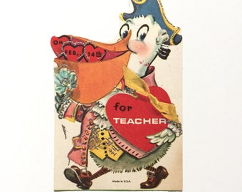 Vintage Valentine's Day Card / Vintage Valentine / Teacher Valentine / Greeting Card with Glitter / Scrapbook Supply / Paper Ephemera