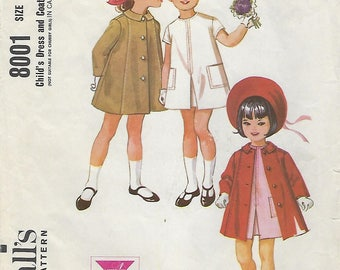 McCall's 8001 Child's Dress And Coat  Size 2