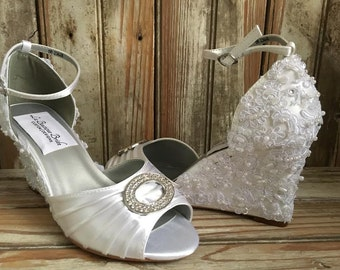 Ankle Strap Beaded Wedge Open Toe Brooch Front Lace Beaded Wedge Bridal Shoe Lace Wedge Wedding Shoe