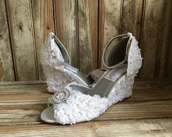 Bridal Wedge Shoe Ankle Strap Beaded Lace Covered Wedding Wedge Ivory or White Open Toe Wedge Bridal Shoe